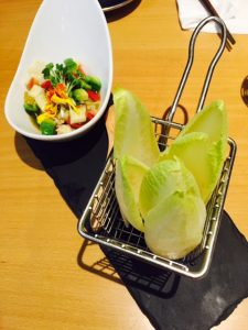 Endive in the basket with Seafood tartar