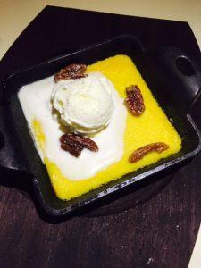 Corn Custard with vanilla ice cream