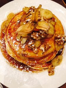 Triple Stack Pancakes with Banana and Walnut.