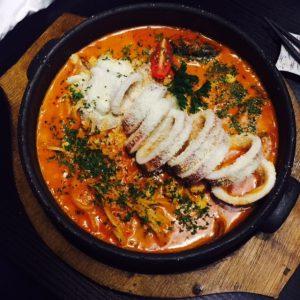 Seafood Tomato Cream Spaghetti