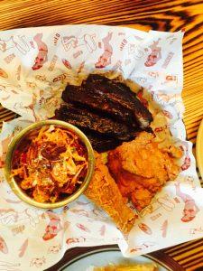 platter of BBQ Riibs and Fried Chicken
