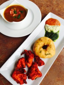 Dhai Vada and Chicken Pakora