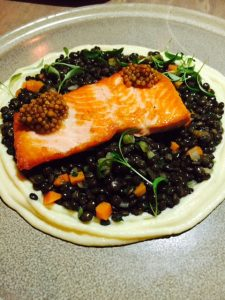Steelhead Trout with beluga lentils