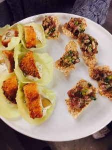Fried Oyster Tacos and Tuna Tartar